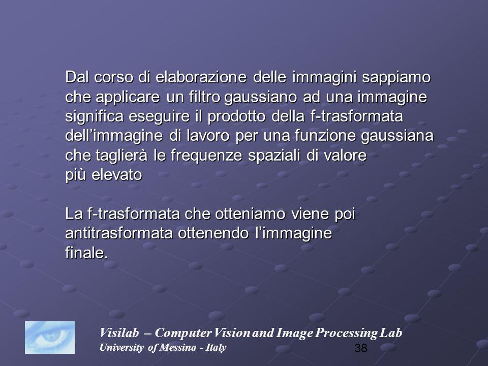 38 Visilab – Computer Vision and Image Processing Lab University of Messina - Italy Dal corso di elaborazione delle immagini sappiamo che applicare un