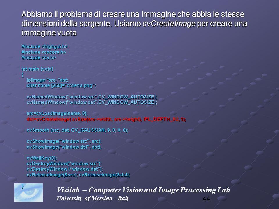 44 Visilab – Computer Vision and Image Processing Lab University of Messina - Italy Abbiamo il problema di creare una immagine che abbia le stesse dim