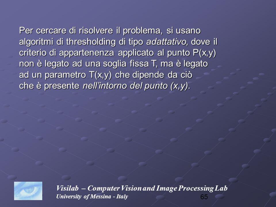65 Visilab – Computer Vision and Image Processing Lab University of Messina - Italy Per cercare di risolvere il problema, si usano algoritmi di thresh