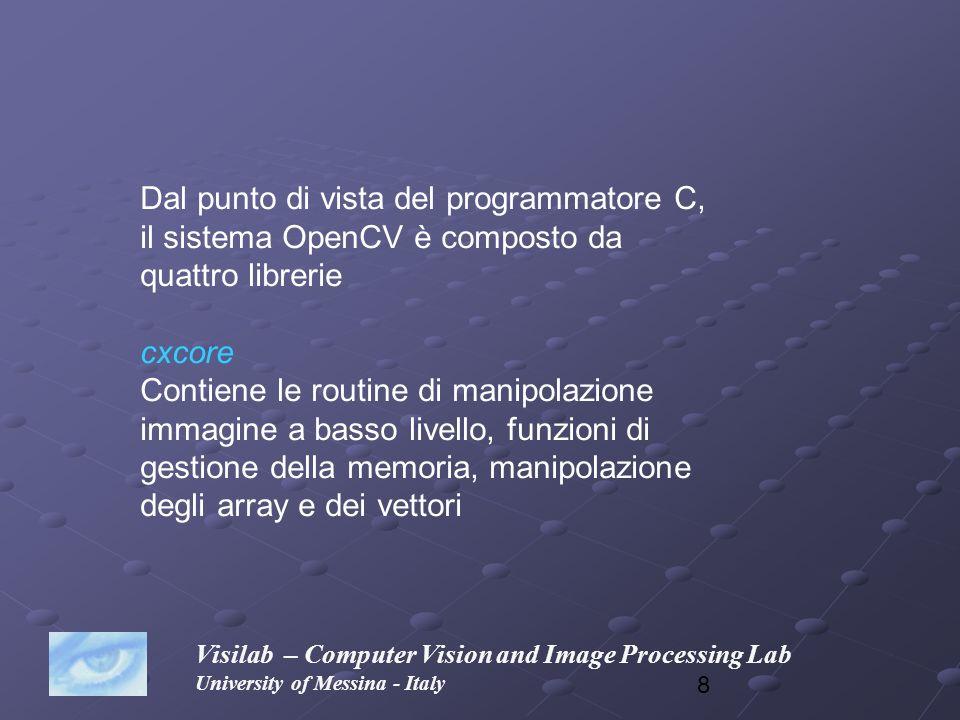 8 Visilab – Computer Vision and Image Processing Lab University of Messina - Italy Dal punto di vista del programmatore C, il sistema OpenCV è compost