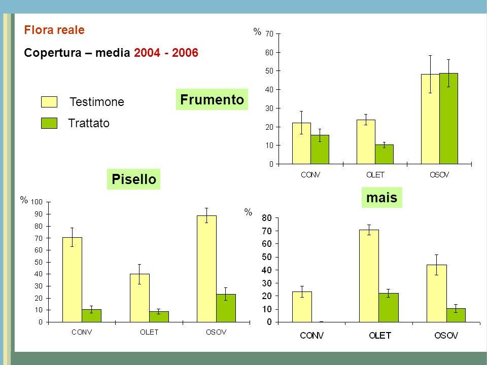 Copertura – media 2004 - 2006 Flora reale Frumento Pisello mais % % % Testimone Trattato