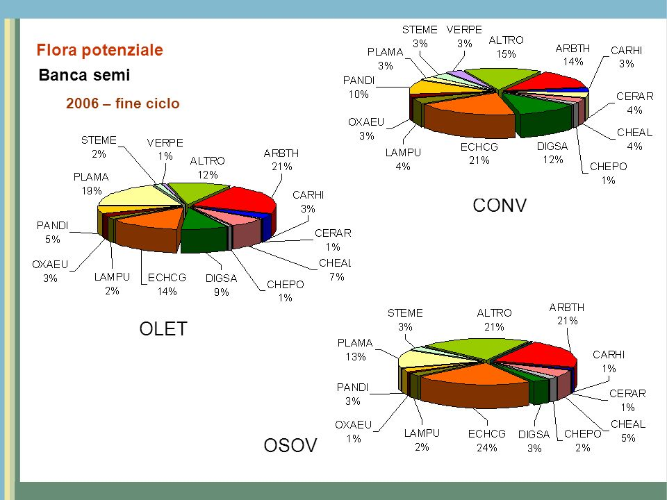 Banca semi 2006 – fine ciclo Flora potenziale CONV OLET OSOV