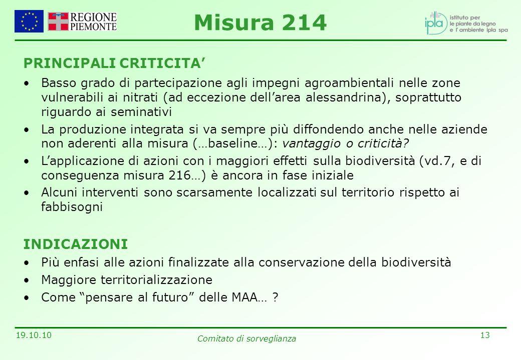 13 19.10.10 Comitato di sorveglianza PRINCIPALI CRITICITA Basso grado di partecipazione agli impegni agroambientali nelle zone vulnerabili ai nitrati