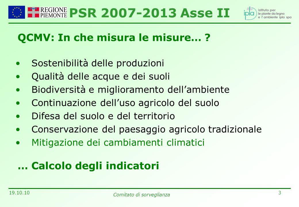 3 19.10.10 Comitato di sorveglianza QCMV: In che misura le misure… ? Sostenibilità delle produzioni Qualità delle acque e dei suoli Biodiversità e mig
