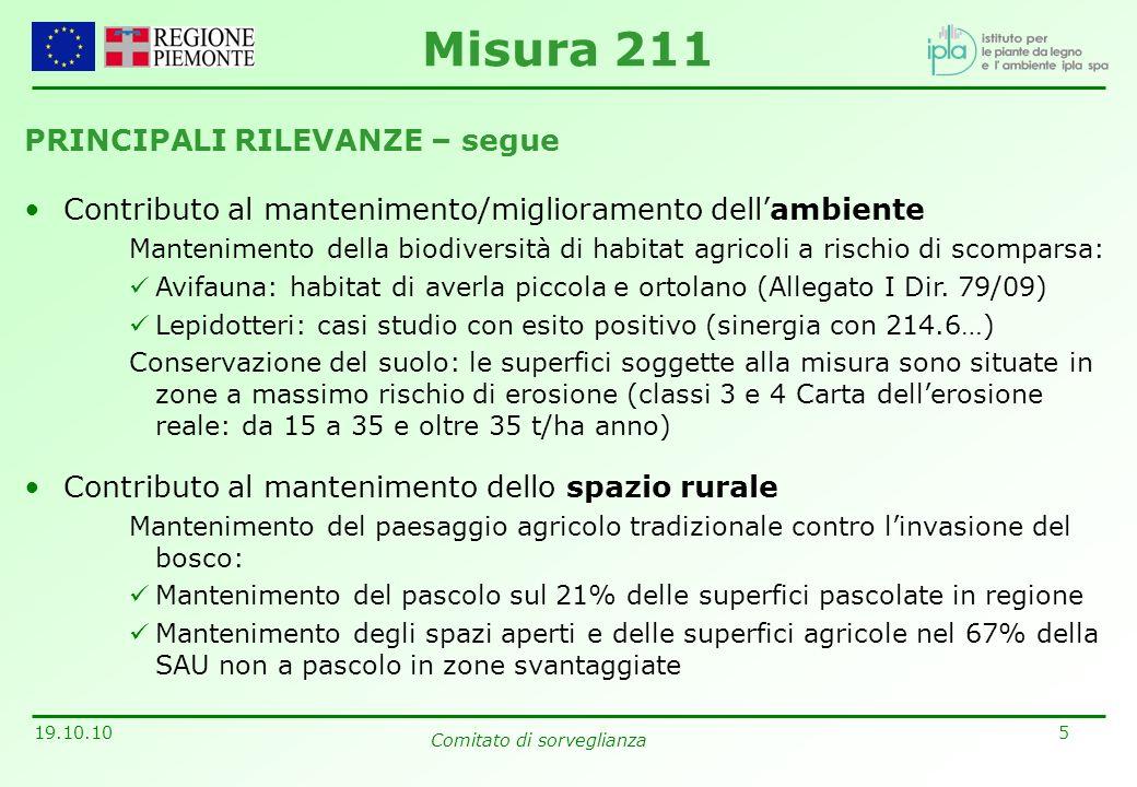 5 19.10.10 Comitato di sorveglianza PRINCIPALI RILEVANZE – segue Contributo al mantenimento/miglioramento dellambiente Mantenimento della biodiversità