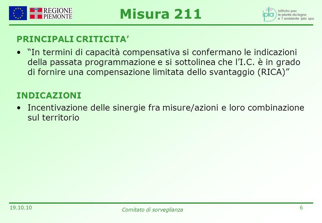 6 19.10.10 Comitato di sorveglianza PRINCIPALI CRITICITA In termini di capacità compensativa si confermano le indicazioni della passata programmazione