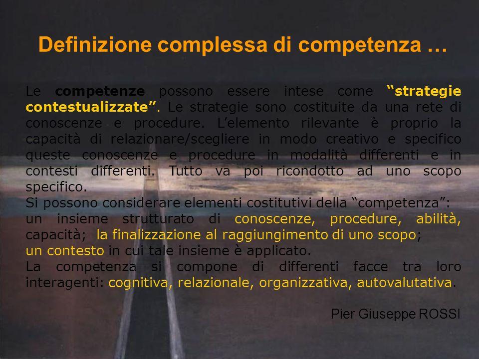 Definizione complessa di competenza … Le competenze possono essere intese come strategie contestualizzate. Le strategie sono costituite da una rete di