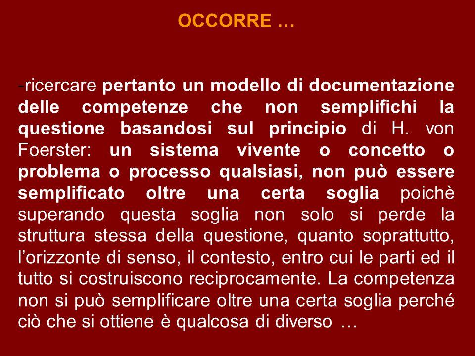 OCCORRE … - ricercare pertanto un modello di documentazione delle competenze che non semplifichi la questione basandosi sul principio di H.