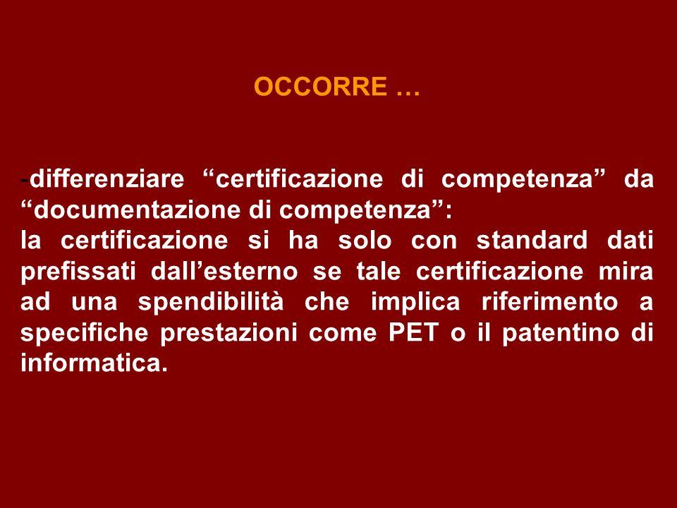OCCORRE … -differenziare certificazione di competenza da documentazione di competenza: la certificazione si ha solo con standard dati prefissati dalle