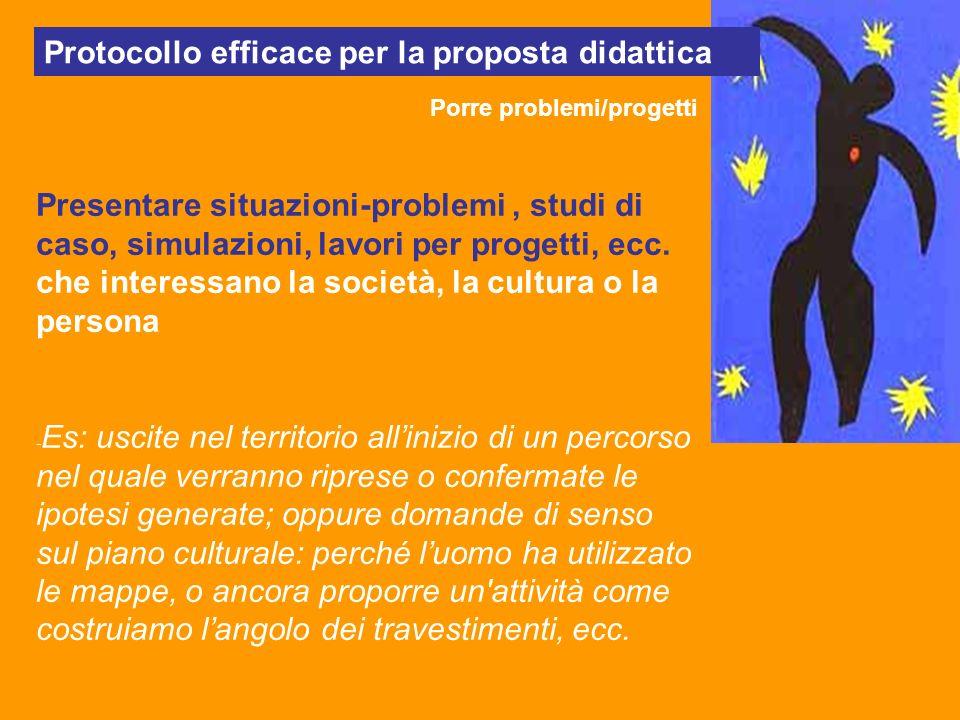 Protocollo efficace per la proposta didattica Porre problemi/progetti Presentare situazioni-problemi, studi di caso, simulazioni, lavori per progetti,