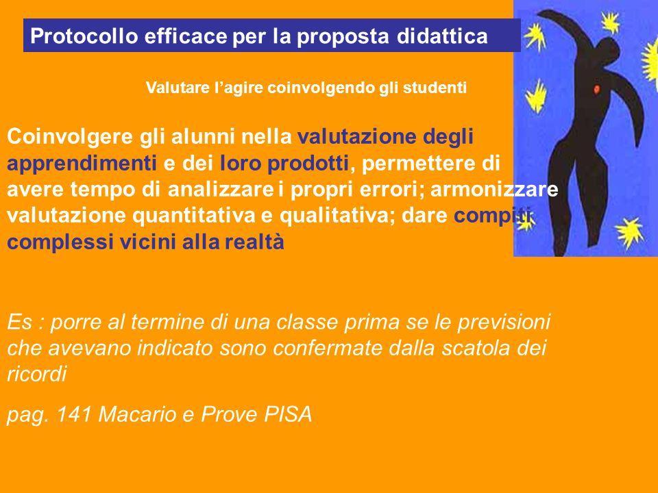 Protocollo efficace per la proposta didattica Valutare lagire coinvolgendo gli studenti Coinvolgere gli alunni nella valutazione degli apprendimenti e