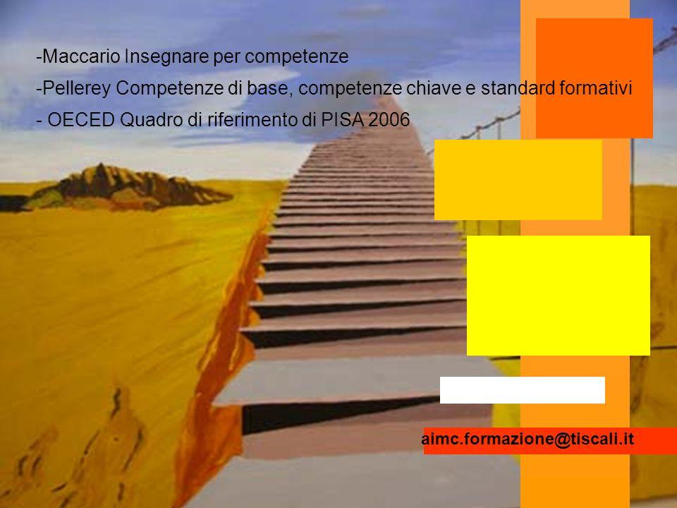 -Maccario Insegnare per competenze -Pellerey Competenze di base, competenze chiave e standard formativi - OECED Quadro di riferimento di PISA 2006 aimc.formazione@tiscali.it