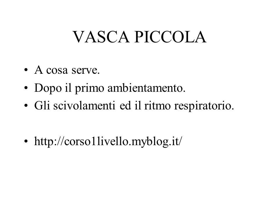 VASCA PICCOLA A cosa serve. Dopo il primo ambientamento. Gli scivolamenti ed il ritmo respiratorio. http://corso1livello.myblog.it/
