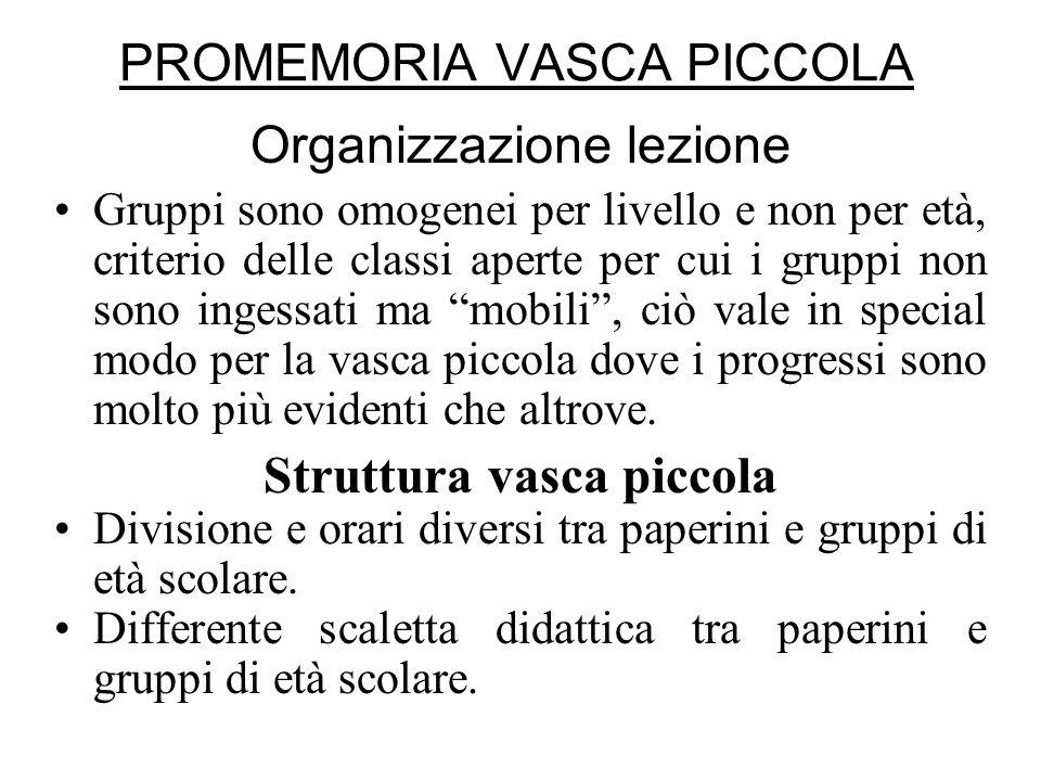 PROMEMORIA VASCA PICCOLA Organizzazione lezione Gruppi sono omogenei per livello e non per età, criterio delle classi aperte per cui i gruppi non sono