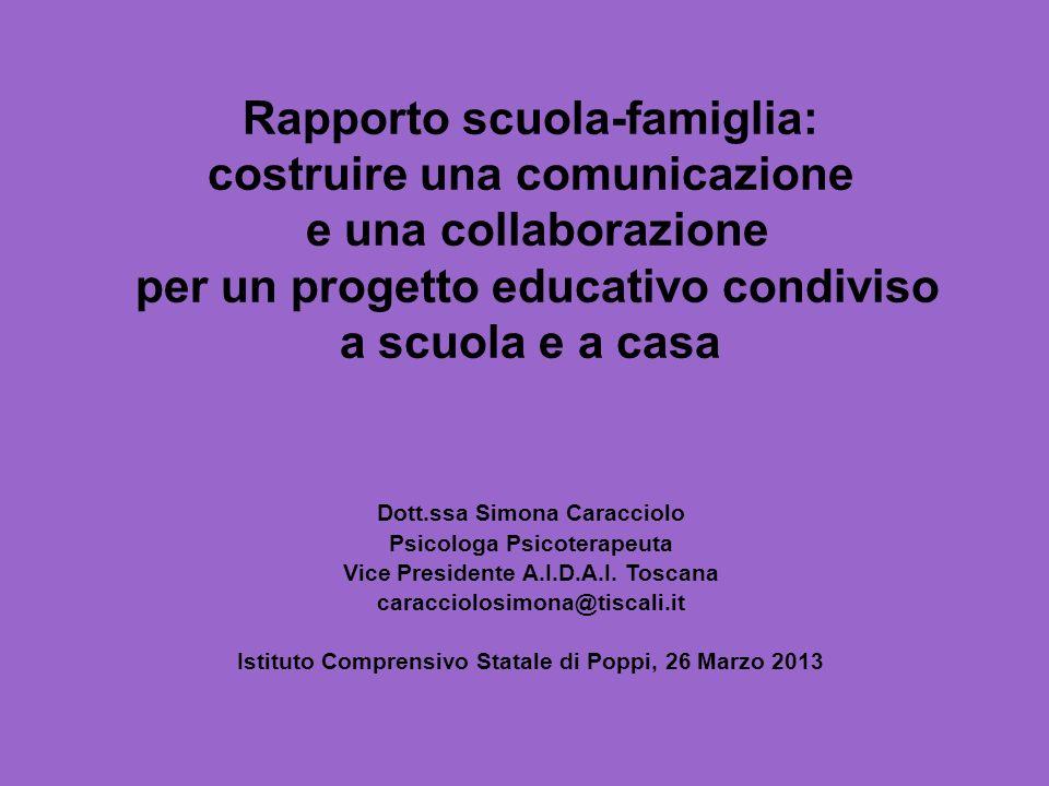 Rapporto scuola-famiglia: costruire una comunicazione e una collaborazione per un progetto educativo condiviso a scuola e a casa Dott.ssa Simona Carac