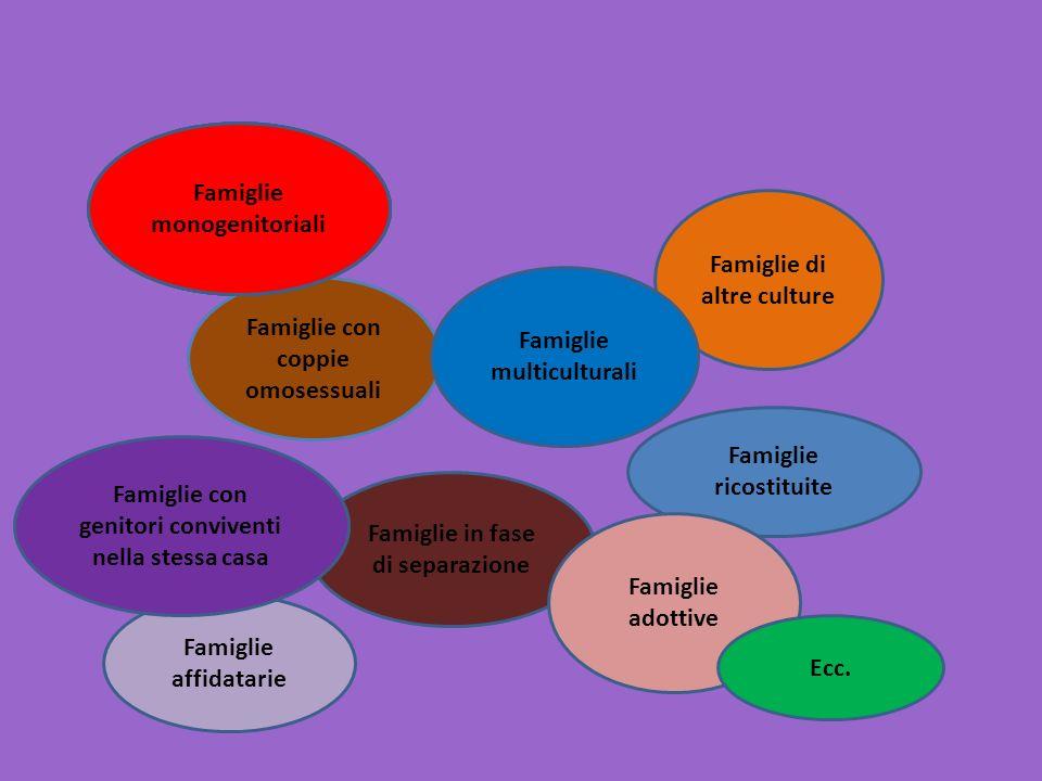 Famiglie con coppie omosessuali Famiglie monogenitoriali Famiglie di altre culture Famiglie affidatarie Famiglie in fase di separazione Famiglie ricos