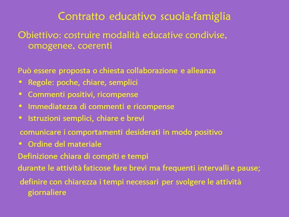 Contratto educativo scuola-famiglia Obiettivo: costruire modalità educative condivise, omogenee, coerenti Può essere proposta o chiesta collaborazione