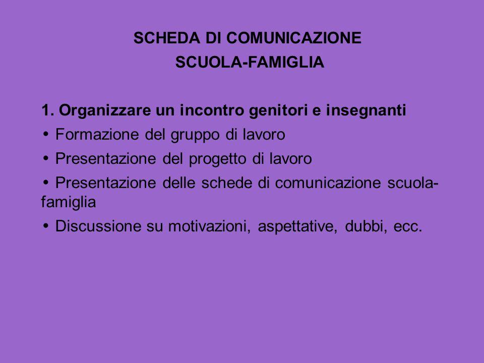 SCHEDA DI COMUNICAZIONE SCUOLA-FAMIGLIA 1. Organizzare un incontro genitori e insegnanti Formazione del gruppo di lavoro Presentazione del progetto di