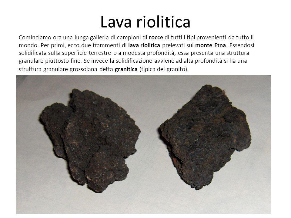 Lava riolitica Cominciamo ora una lunga galleria di campioni di rocce di tutti i tipi provenienti da tutto il mondo.