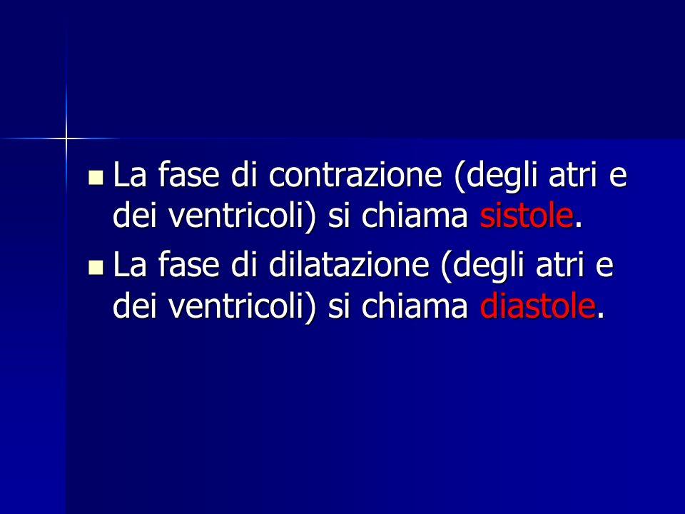 La fase di contrazione (degli atri e dei ventricoli) si chiama sistole. La fase di contrazione (degli atri e dei ventricoli) si chiama sistole. La fas