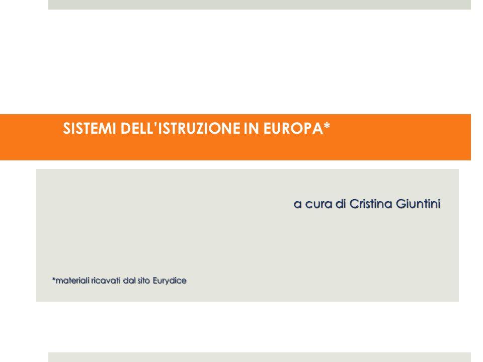 SISTEMI DELLISTRUZIONE IN EUROPA* a cura di Cristina Giuntini *materiali ricavati dal sito Eurydice
