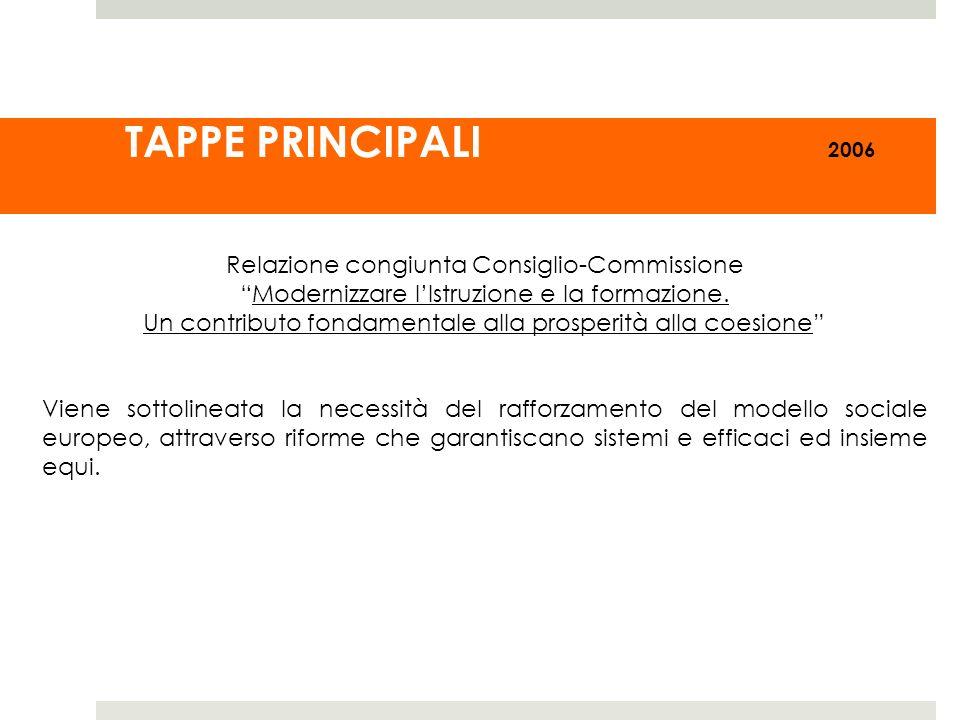 TAPPE PRINCIPALI 2006 Relazione congiunta Consiglio-Commissione Modernizzare lIstruzione e la formazione. Un contributo fondamentale alla prosperità a