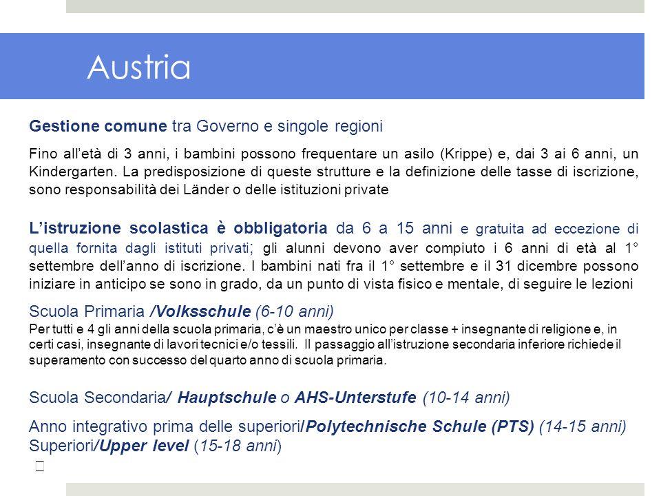 Austria Gestione comune tra Governo e singole regioni Fino alletà di 3 anni, i bambini possono frequentare un asilo (Krippe) e, dai 3 ai 6 anni, un Ki