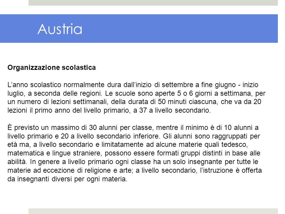 Austria Organizzazione scolastica Lanno scolastico normalmente dura dallinizio di settembre a fine giugno - inizio luglio, a seconda delle regioni. Le