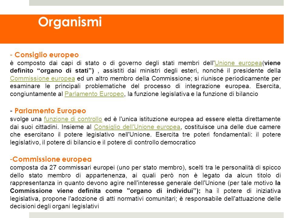Organismi - Consiglio europeo è composto dai capi di stato o di governo degli stati membri dell'Unione europea(viene definito organo di stati), assist