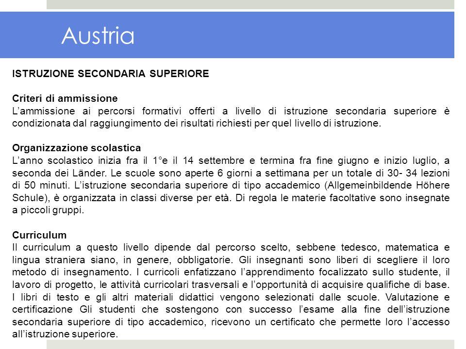 Austria ISTRUZIONE SECONDARIA SUPERIORE Criteri di ammissione Lammissione ai percorsi formativi offerti a livello di istruzione secondaria superiore è