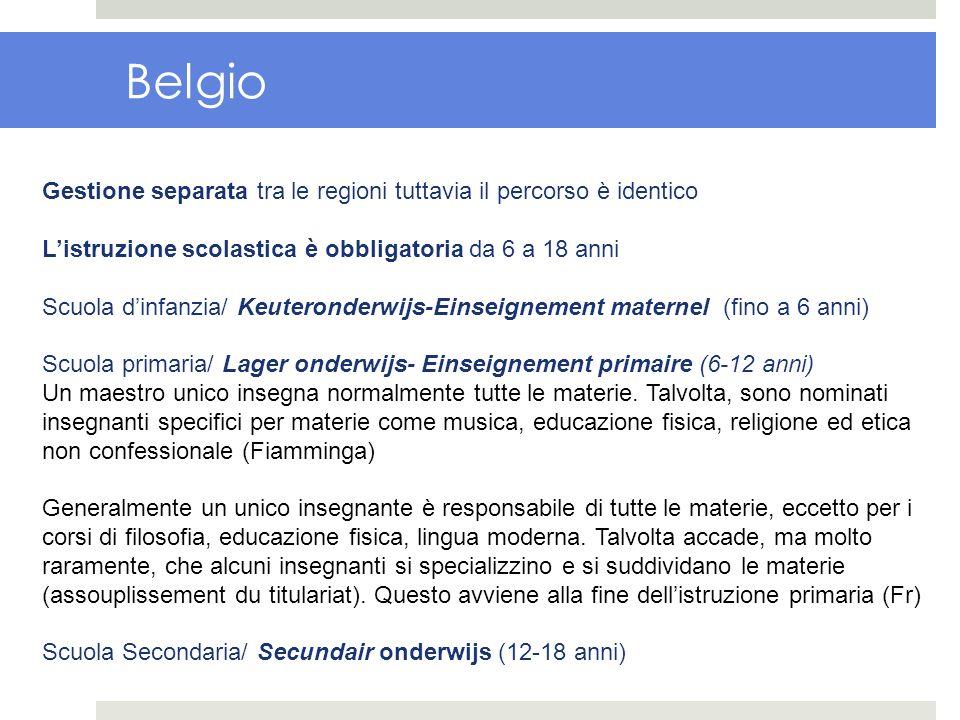 Belgio Gestione separata tra le regioni tuttavia il percorso è identico Listruzione scolastica è obbligatoria da 6 a 18 anni Scuola dinfanzia/ Keutero