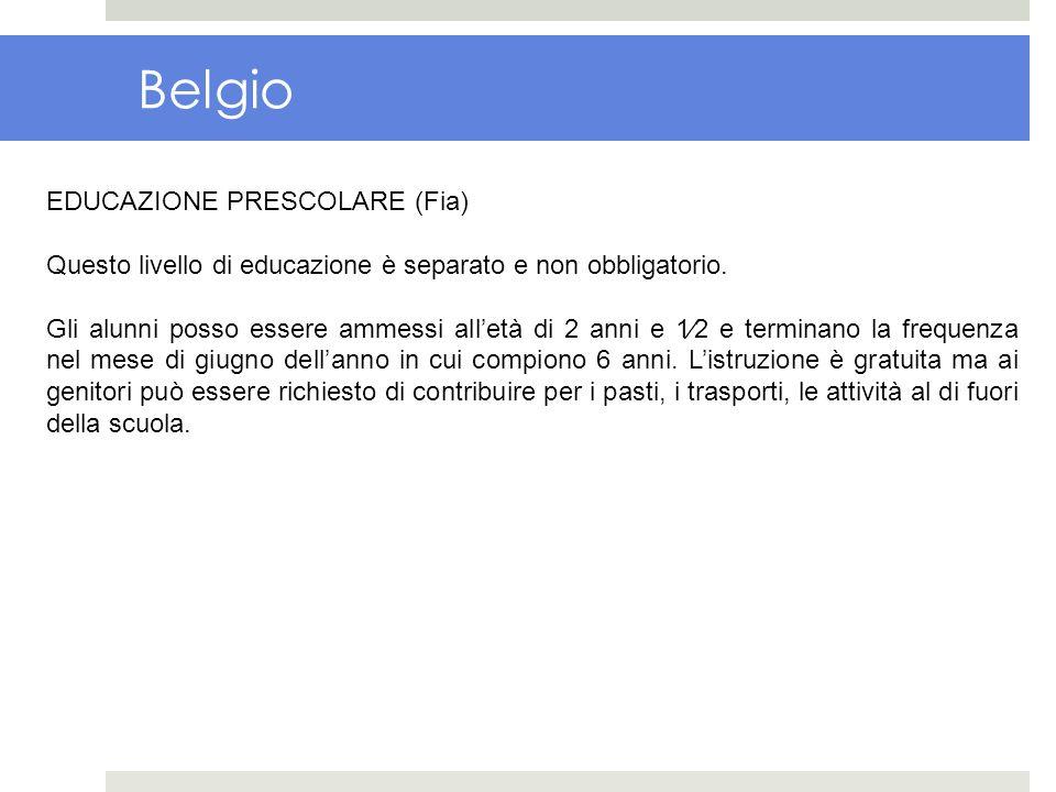 Belgio EDUCAZIONE PRESCOLARE (Fia) Questo livello di educazione è separato e non obbligatorio. Gli alunni posso essere ammessi alletà di 2 anni e 12 e
