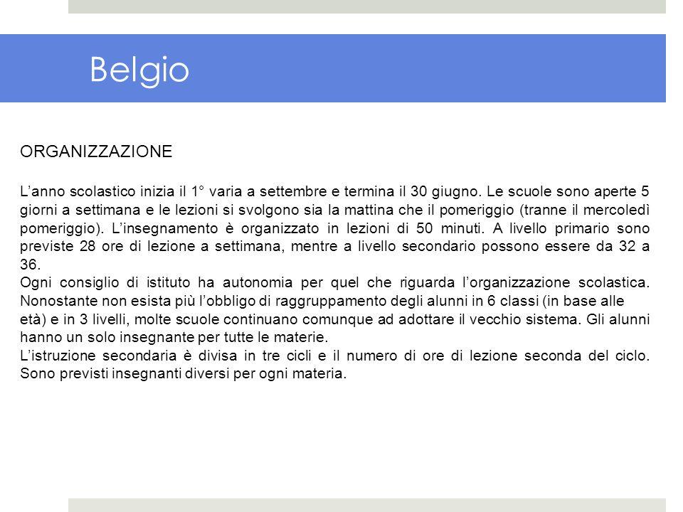 Belgio ORGANIZZAZIONE Lanno scolastico inizia il 1° varia a settembre e termina il 30 giugno. Le scuole sono aperte 5 giorni a settimana e le lezioni