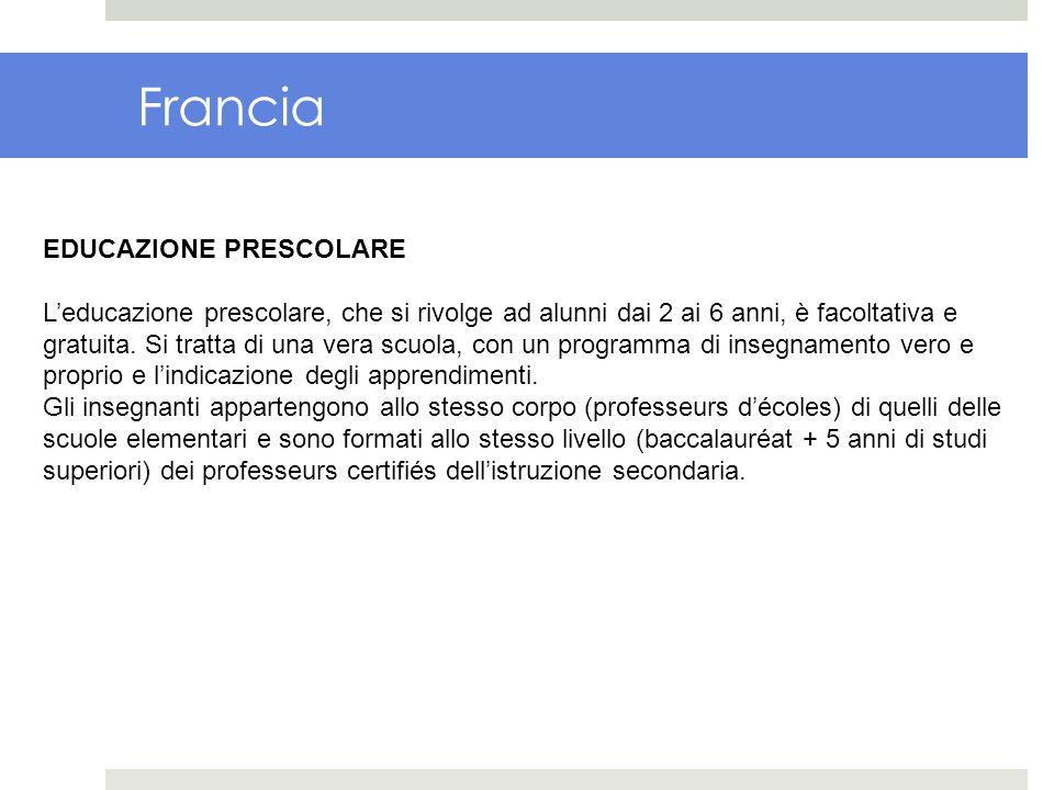 Francia EDUCAZIONE PRESCOLARE Leducazione prescolare, che si rivolge ad alunni dai 2 ai 6 anni, è facoltativa e gratuita. Si tratta di una vera scuola