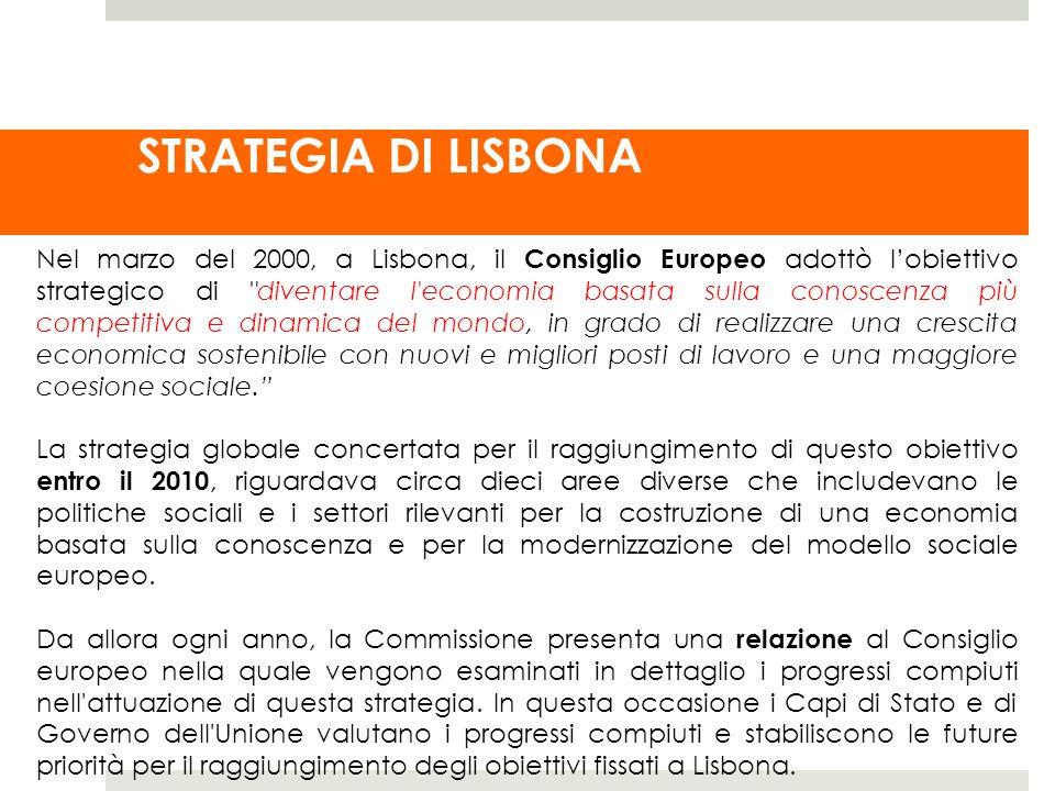 STRATEGIA DI LISBONA Nel marzo del 2000, a Lisbona, il Consiglio Europeo adottò lobiettivo strategico di