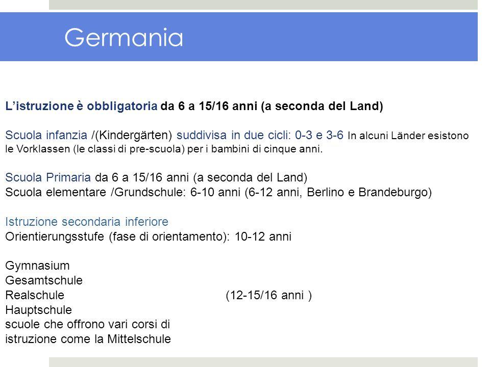 Germania Listruzione è obbligatoria da 6 a 15/16 anni (a seconda del Land) Scuola infanzia /(Kindergärten) suddivisa in due cicli: 0-3 e 3-6 In alcuni
