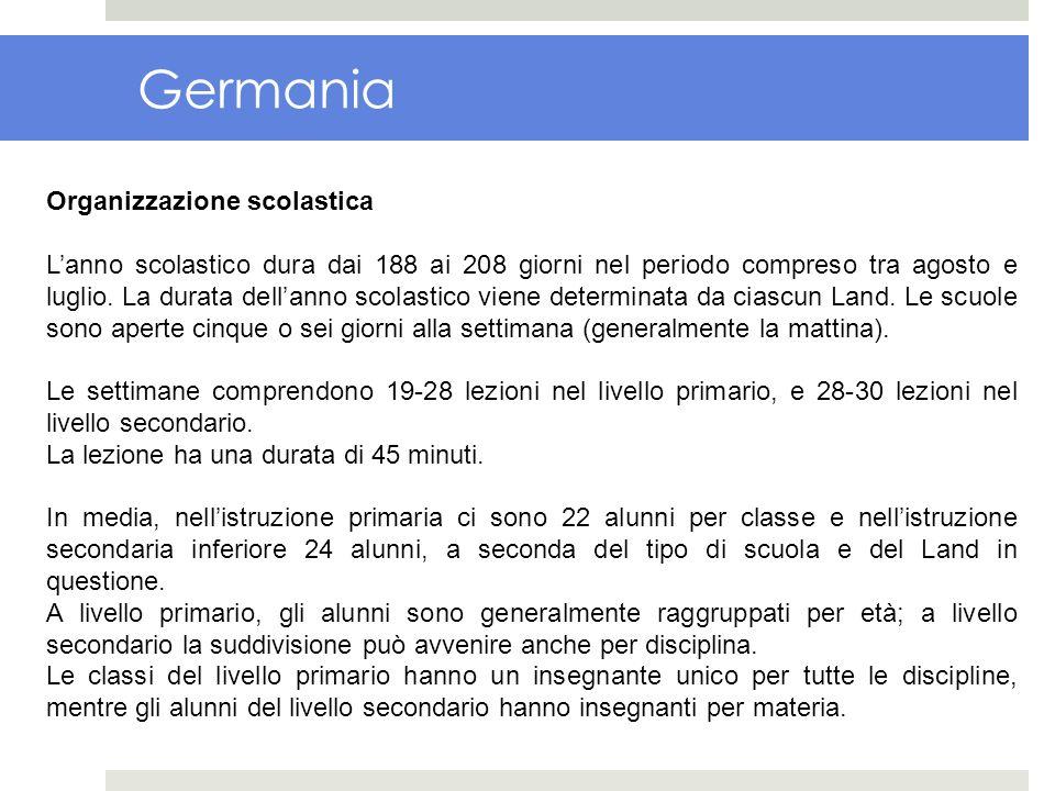Germania Organizzazione scolastica Lanno scolastico dura dai 188 ai 208 giorni nel periodo compreso tra agosto e luglio. La durata dellanno scolastico