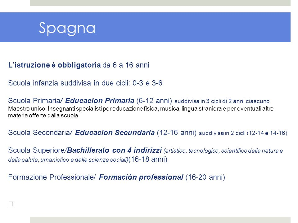 Spagna Listruzione è obbligatoria da 6 a 16 anni Scuola infanzia suddivisa in due cicli: 0-3 e 3-6 Scuola Primaria/ Educacion Primaria (6-12 anni) sud