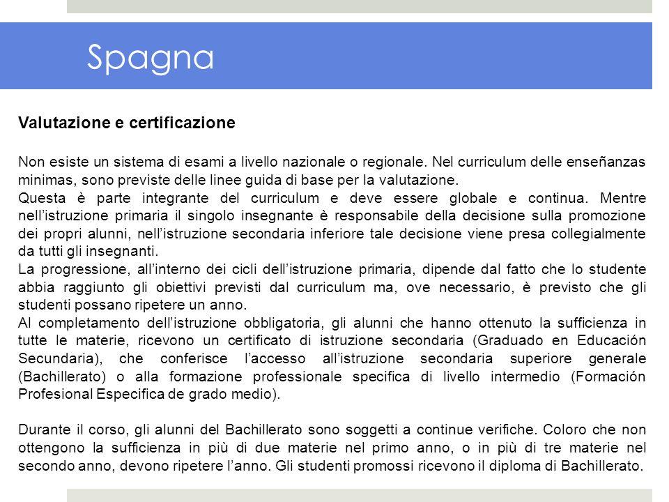 Spagna Valutazione e certificazione Non esiste un sistema di esami a livello nazionale o regionale. Nel curriculum delle enseñanzas minimas, sono prev