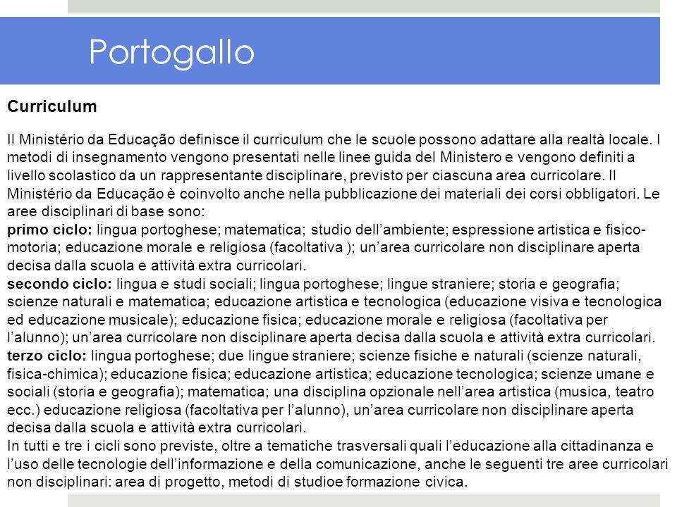 Portogallo Curriculum Il Ministério da Educação definisce il curriculum che le scuole possono adattare alla realtà locale. I metodi di insegnamento ve