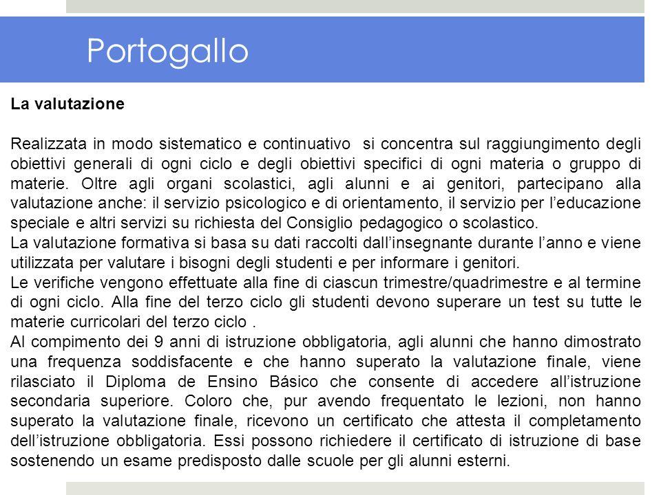 Portogallo La valutazione Realizzata in modo sistematico e continuativo si concentra sul raggiungimento degli obiettivi generali di ogni ciclo e degli