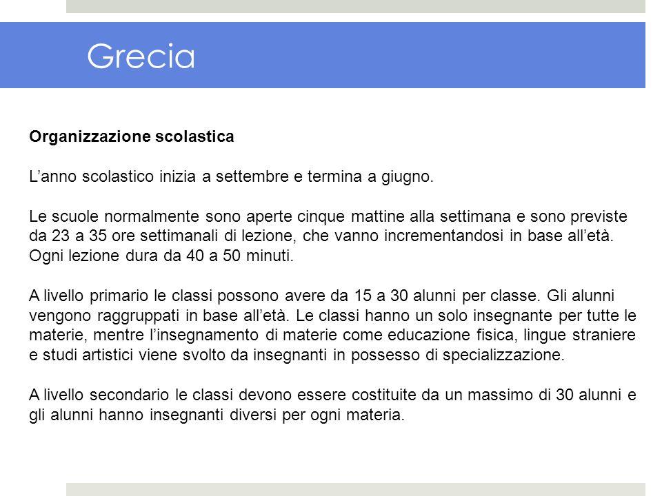 Grecia Organizzazione scolastica Lanno scolastico inizia a settembre e termina a giugno. Le scuole normalmente sono aperte cinque mattine alla settima