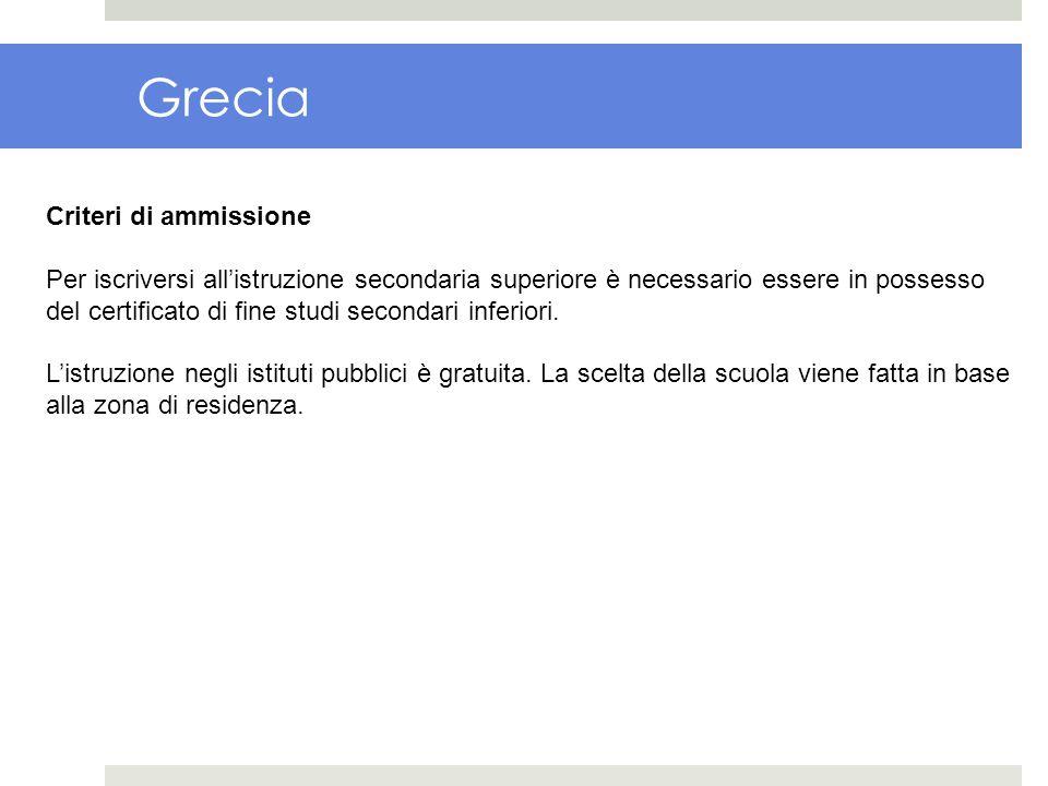 Grecia Criteri di ammissione Per iscriversi allistruzione secondaria superiore è necessario essere in possesso del certificato di fine studi secondari