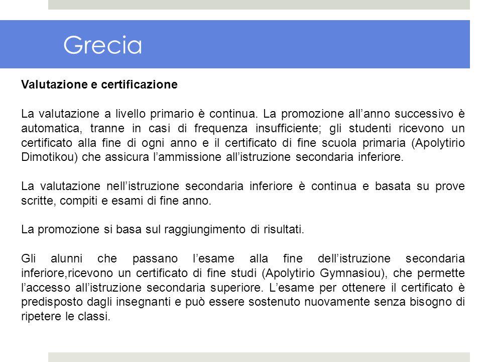 Grecia Valutazione e certificazione La valutazione a livello primario è continua. La promozione allanno successivo è automatica, tranne in casi di fre