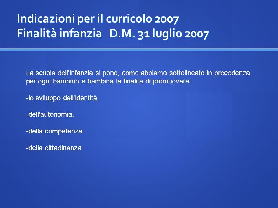 Indicazioni per il curricolo 2007 Finalità infanzia D.M. 31 luglio 2007 La scuola dell'infanzia si pone, come abbiamo sottolineato in precedenza, per