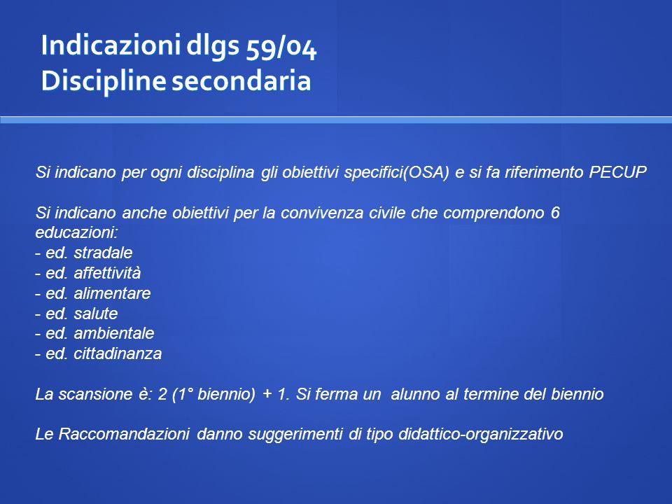 Indicazioni dlgs 59/04 Discipline secondaria Si indicano per ogni disciplina gli obiettivi specifici(OSA) e si fa riferimento PECUP Si indicano anche