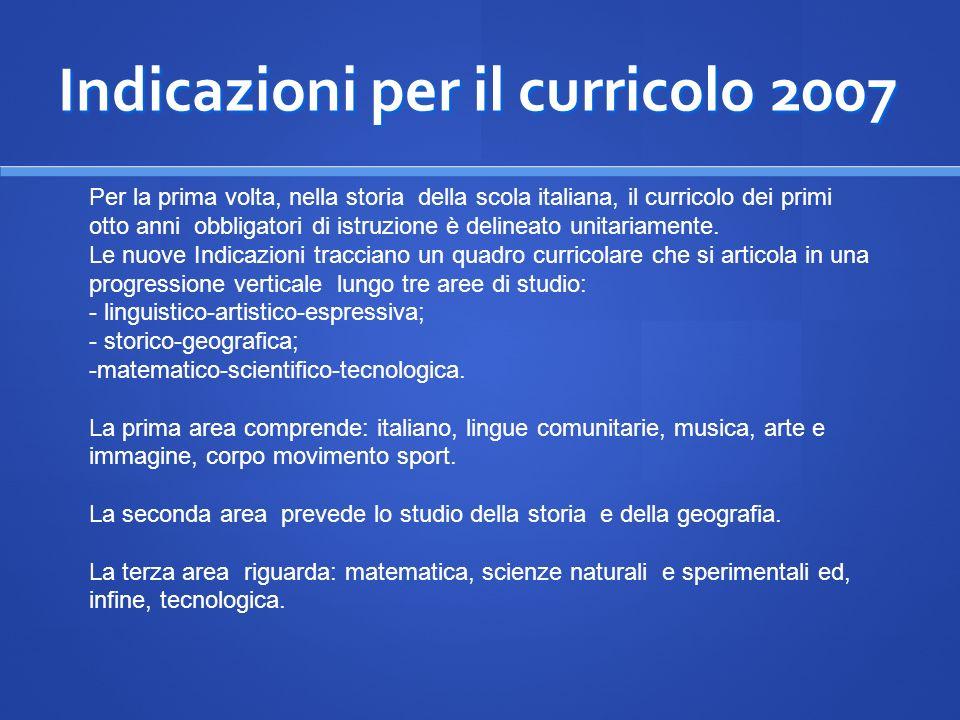 Indicazioni per il curricolo 2007 Per la prima volta, nella storia della scola italiana, il curricolo dei primi otto anni obbligatori di istruzione è