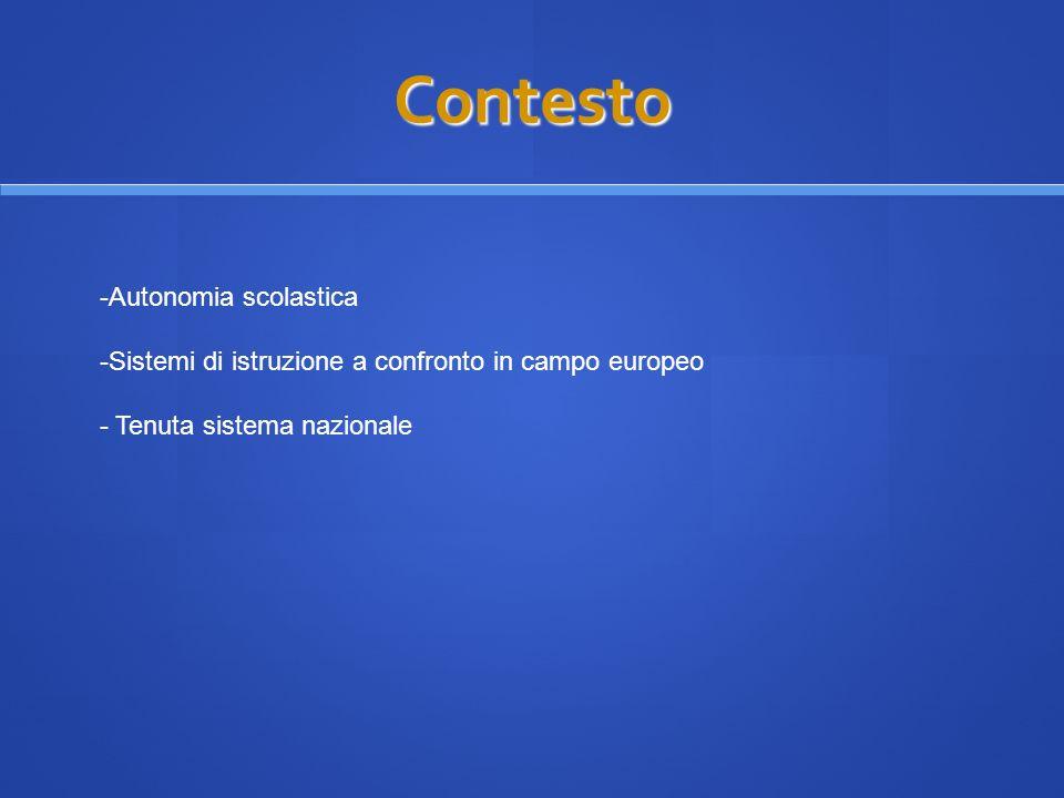 Contesto -Autonomia scolastica -Sistemi di istruzione a confronto in campo europeo - Tenuta sistema nazionale