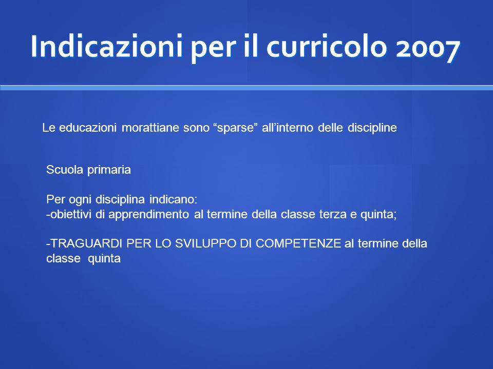 Indicazioni per il curricolo 2007 Le educazioni morattiane sono sparse allinterno delle discipline Scuola primaria Per ogni disciplina indicano: -obie