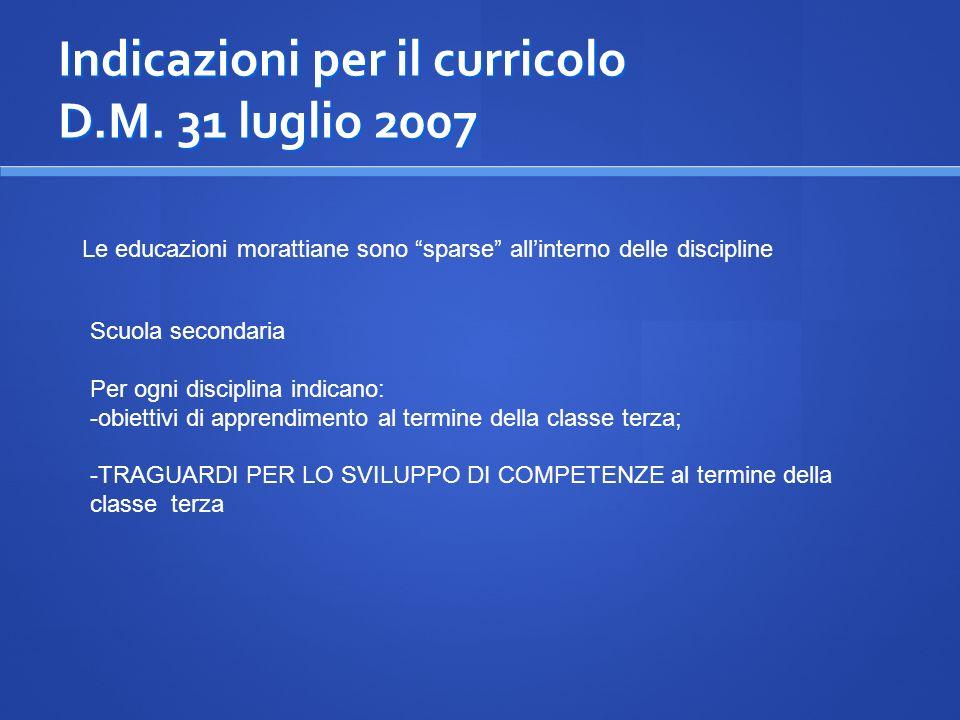 Indicazioni per il curricolo D.M. 31 luglio 2007 Le educazioni morattiane sono sparse allinterno delle discipline Scuola secondaria Per ogni disciplin
